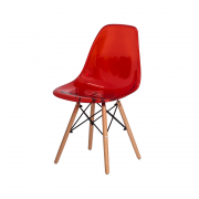 Cadeira Eiffel Eames DSW Vermelho Translúcido Base Madeira