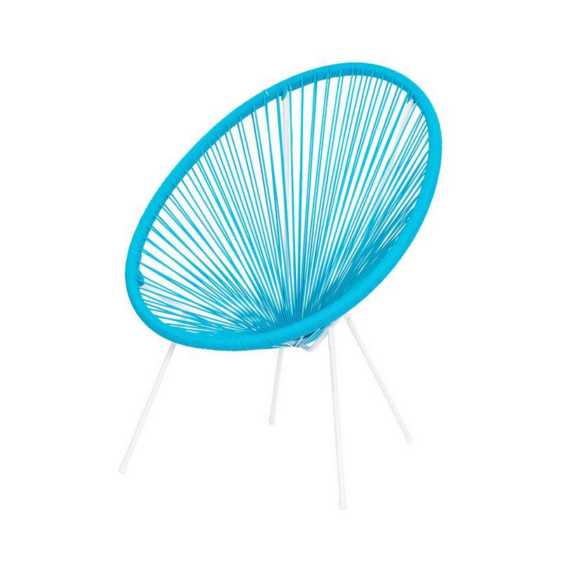 Cadeira Acapulco Oval PVC Base Ferro Pintado Azul