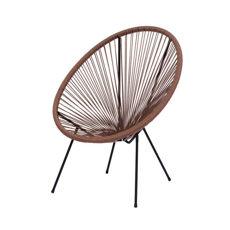 Cadeira Acapulco Oval PVC Base Ferro Pintado Marrom