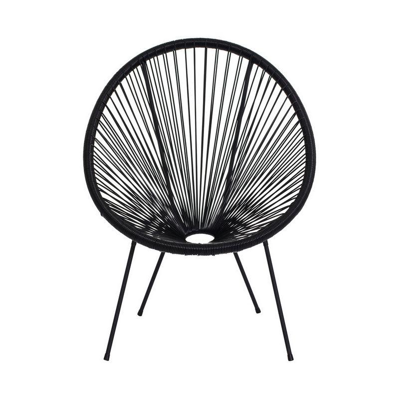 Cadeira Acapulco Oval PVC Base Ferro Pintado Preta
