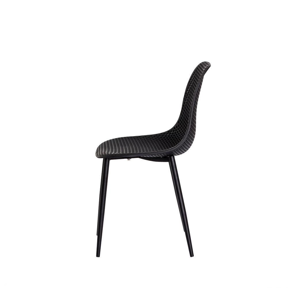 Cadeira Ana Preta Base Metal Galvanizado Sala Cozinha Jantar