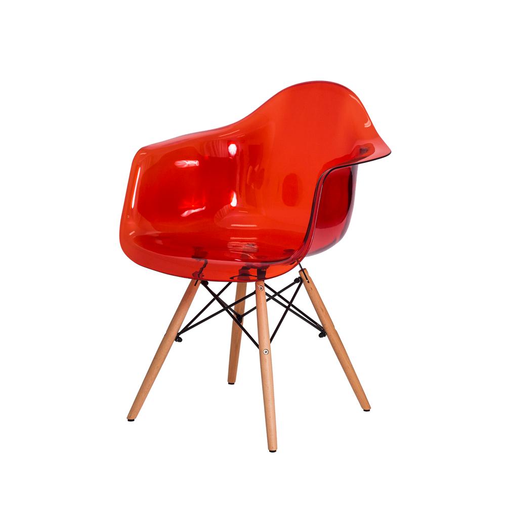 Cadeira Eiffel c/Braço Vermelho Translúcido Base Madeira