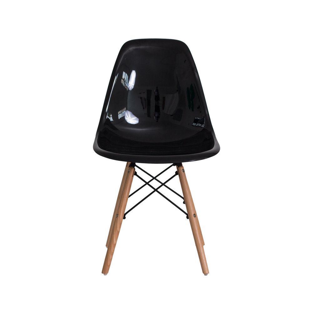 Cadeira Eiffel Eames ABS Base Madeira Preta