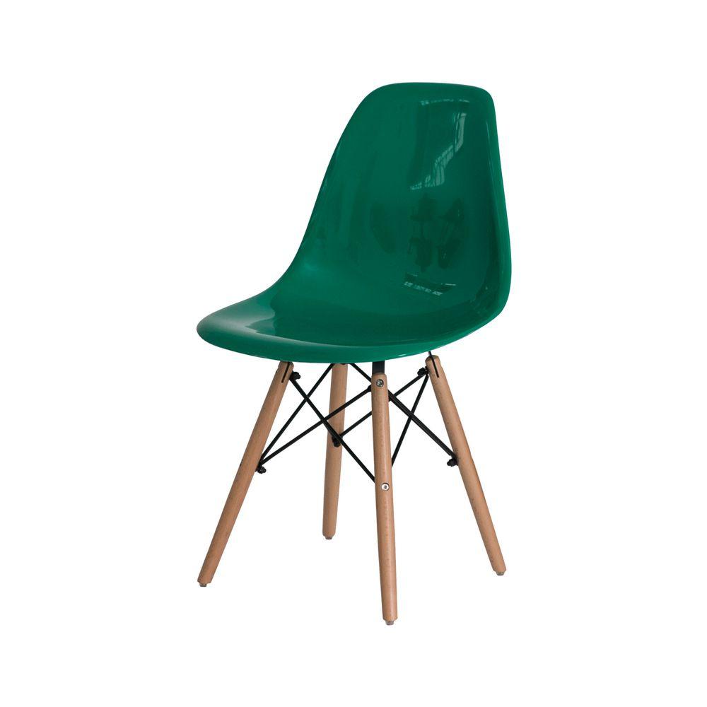 Cadeira Eiffel Eames ABS Base Madeira Verde