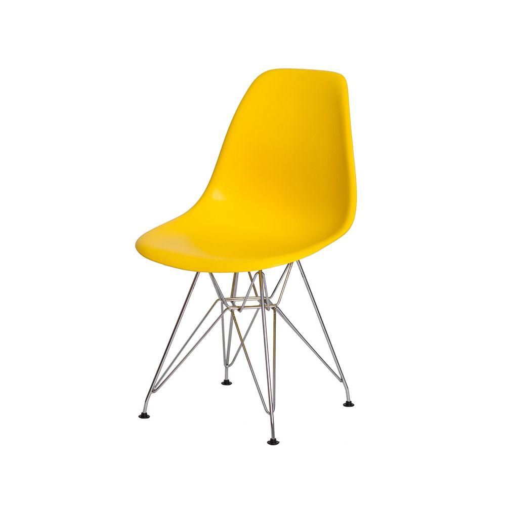Cadeira Eiffel Eames c/Braço Amarela Base Cromada