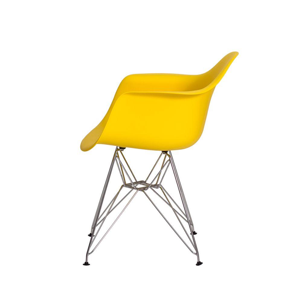 Cadeira Eiffel Eames c/ Braço Base Cromada Amarela