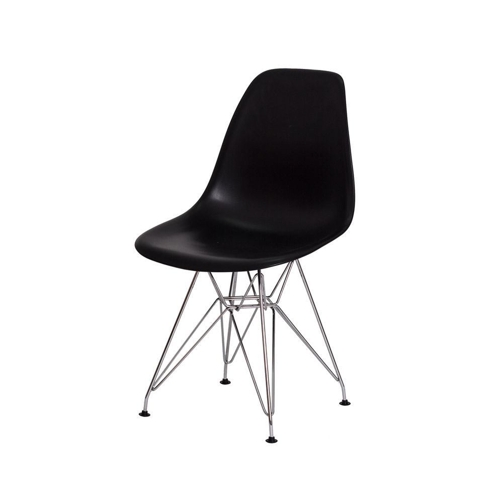 Cadeira Eiffel Eames c/Braço Preta Base Cromada