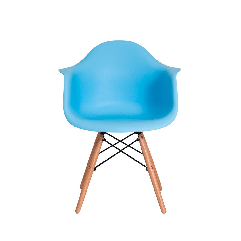 Cadeira Eiffel Eames DAW c/Braço Azul Claro Base Madeira