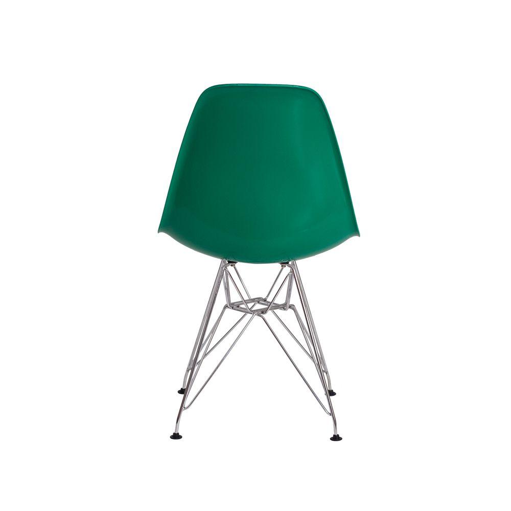Cadeira Eiffel Eames de ABS Base Cromada Verde