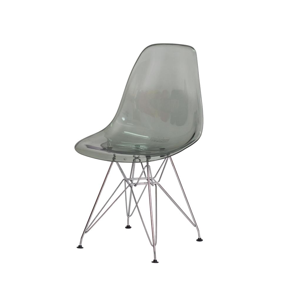 Cadeira Eiffel Eames DSR Preto Translúcido Base Cromada