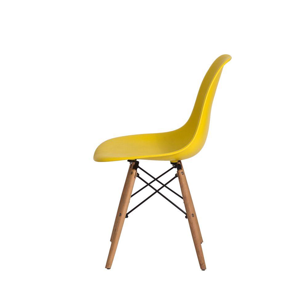 Cadeira Eiffel Eames DSW Amarelo Base Madeira