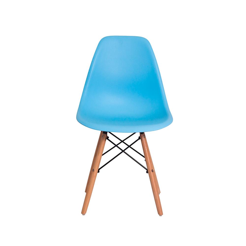Cadeira Eiffel Eames DSW Azul Claro Base Madeira