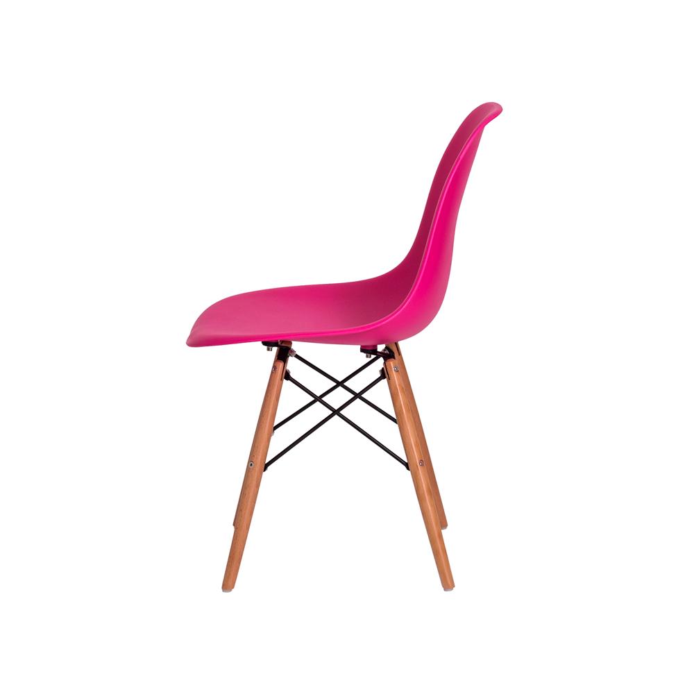 Cadeira Eiffel Eames DSW Pink Base Madeira