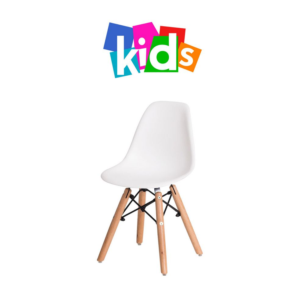 Cadeira Eiffel Eames KIDS Branca Base Madeira