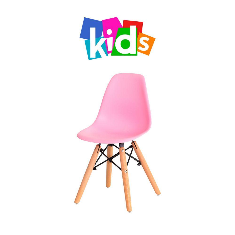 Cadeira Eiffel KIDS Rosa Clara Base Madeira