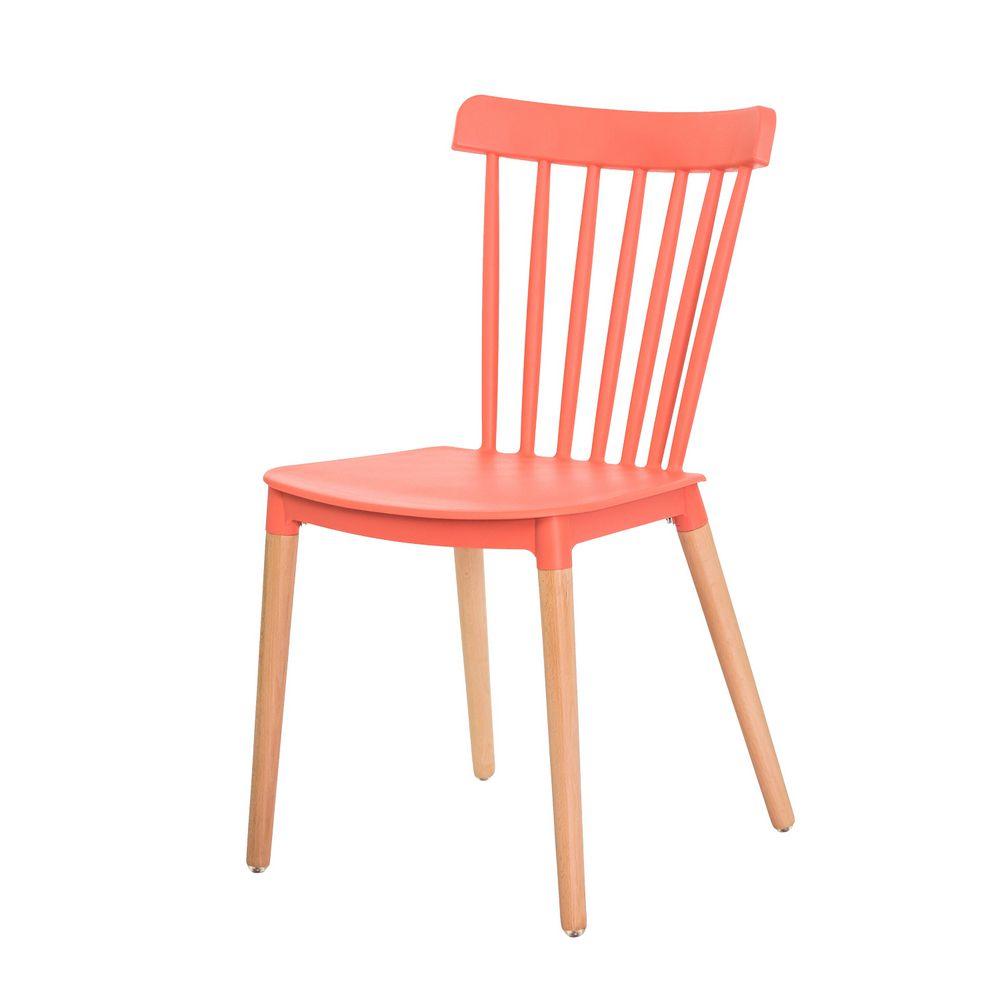 Cadeira Ellen Polipropileno Coral Base Madeira