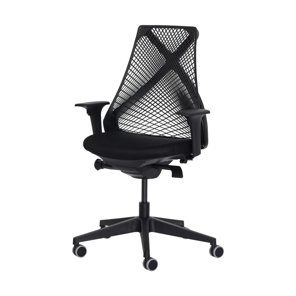 Cadeira Ergonômica Escritório Grid Diretor Preta Base Giratória Altura Ajustável
