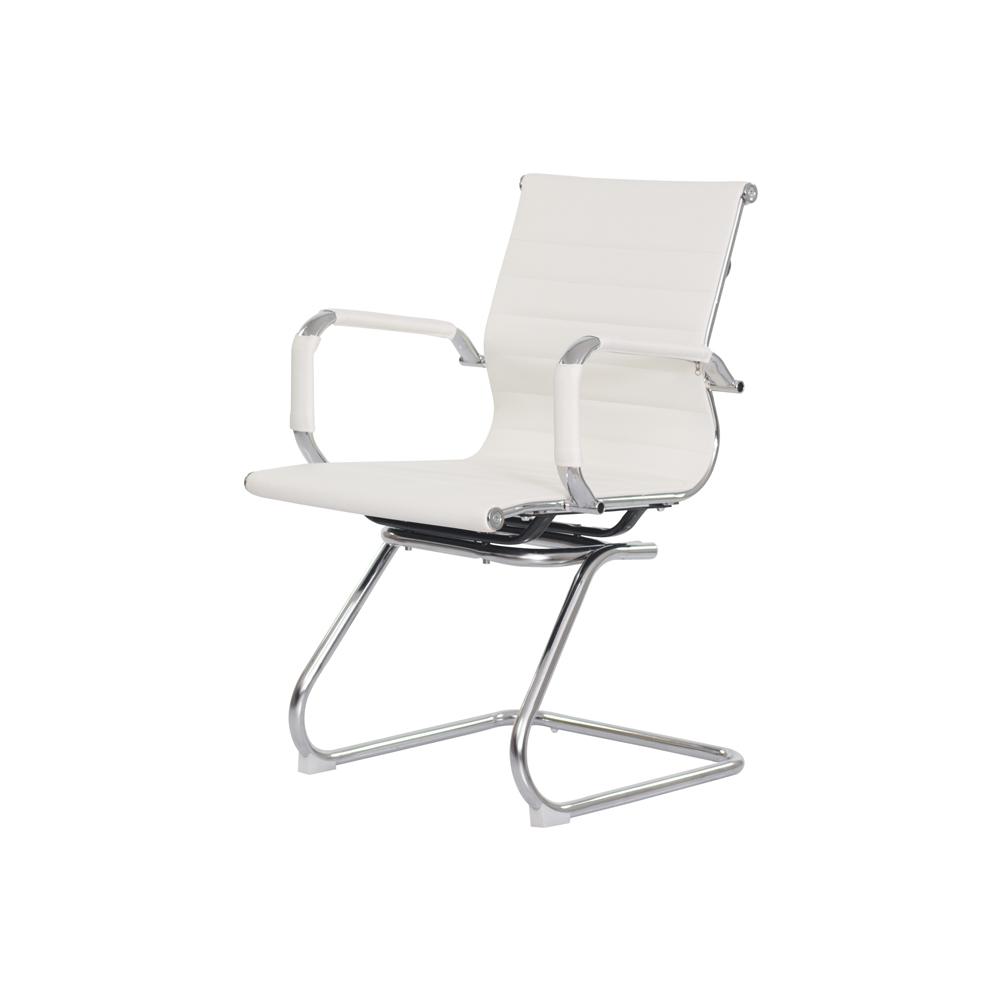 Cadeira Escritório Stripes Fixa PU Branca
