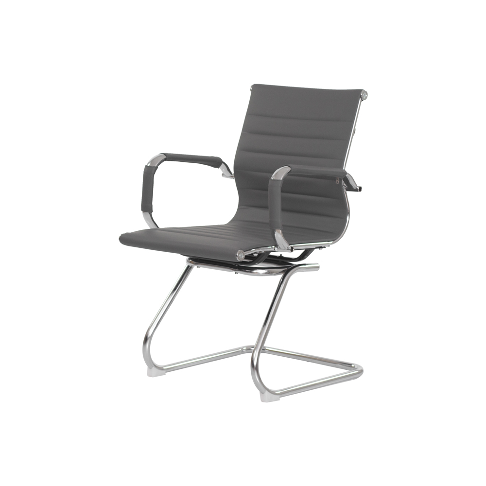 Cadeira Escritório Stripes Fixa PU Cinza