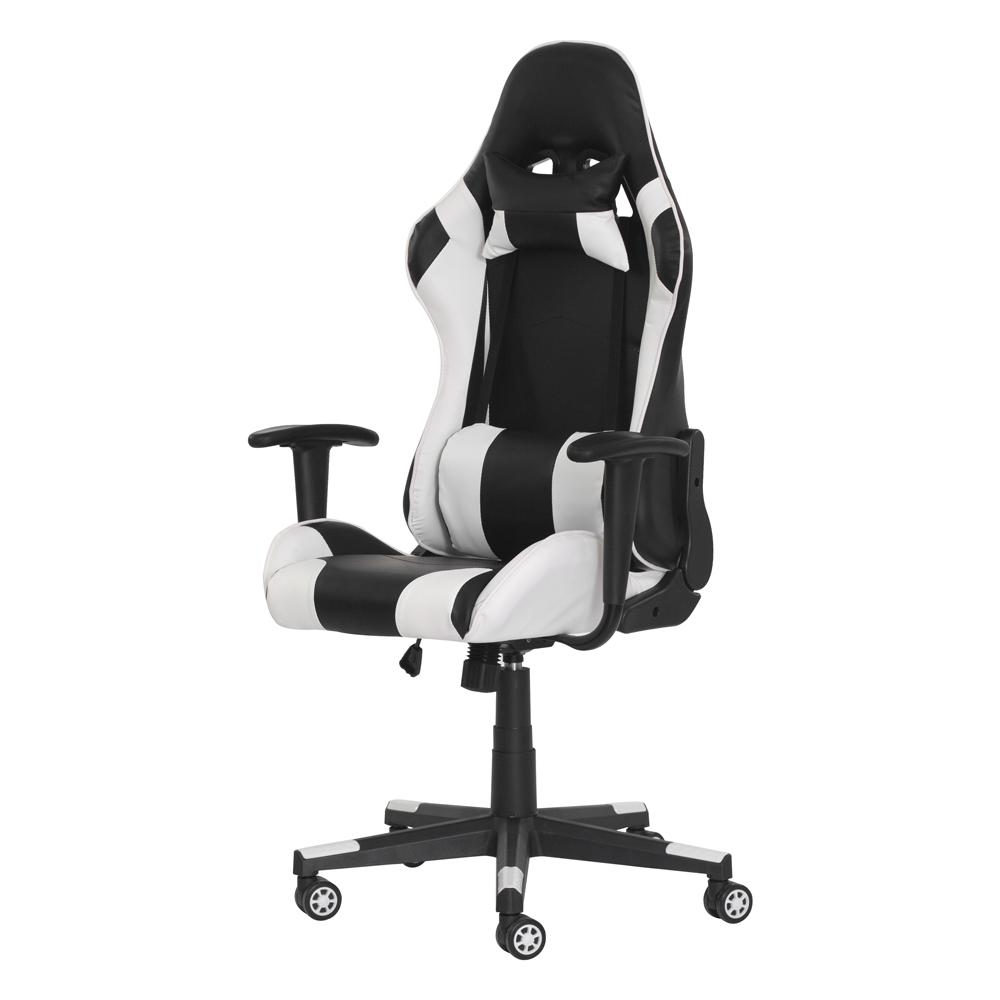 Cadeira Gamer Ben Reclinável 180º Giratória Preta com Branco Altura Ajustável