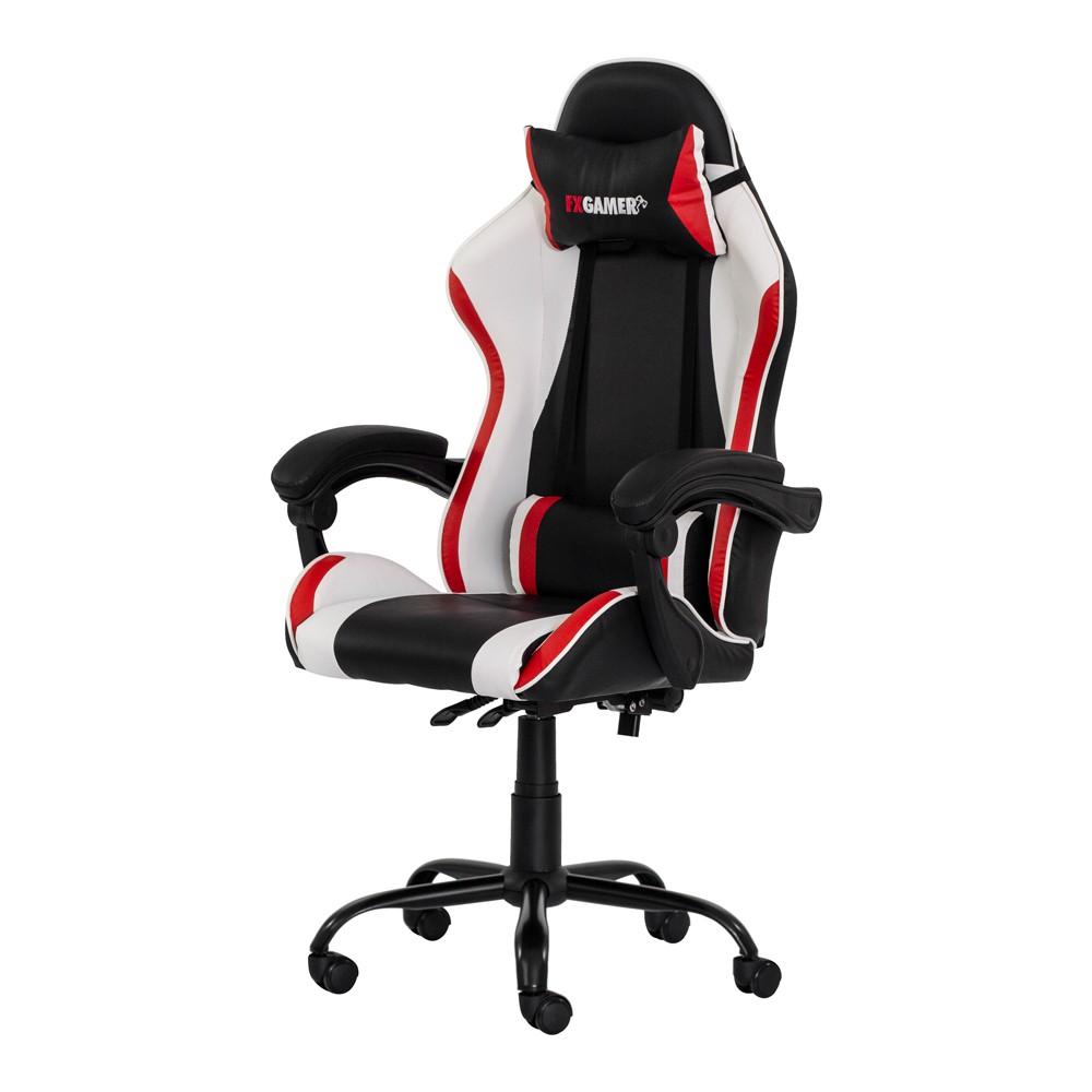 Cadeira Gamer Racer II Giratória Preta com Branco e Vermelho Altura Ajustável Função Relax