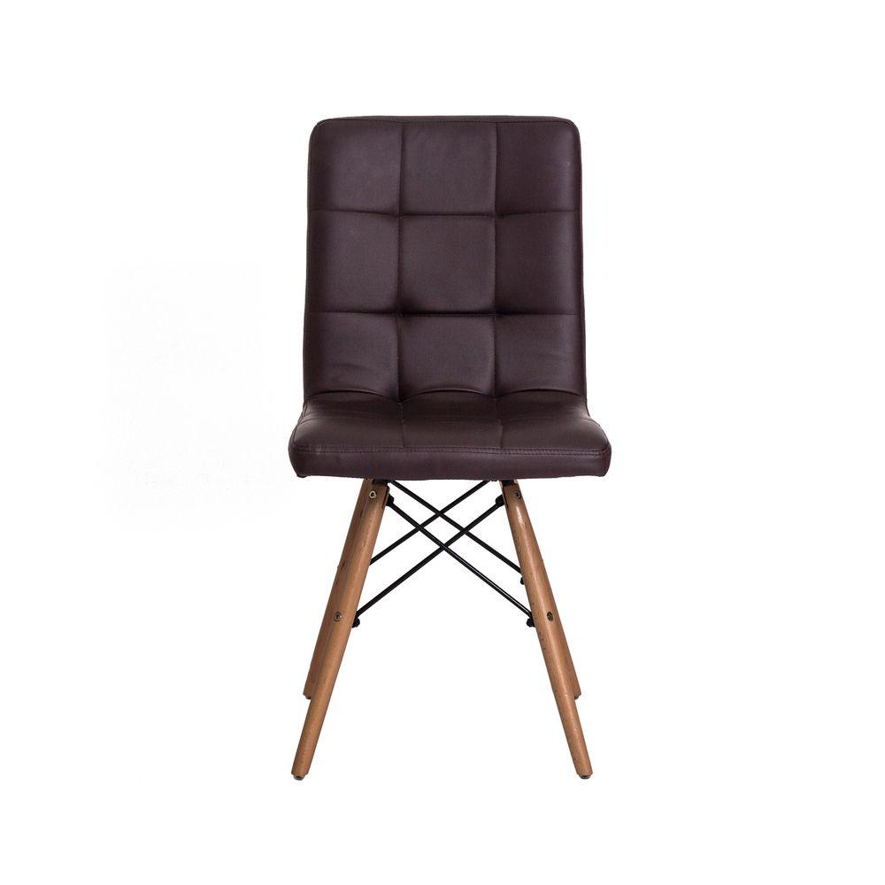 Cadeira Gomos Marrom Café Base Madeira