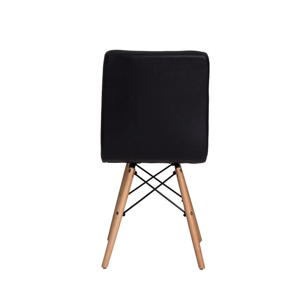 Cadeira Gomos Preta Base Madeira