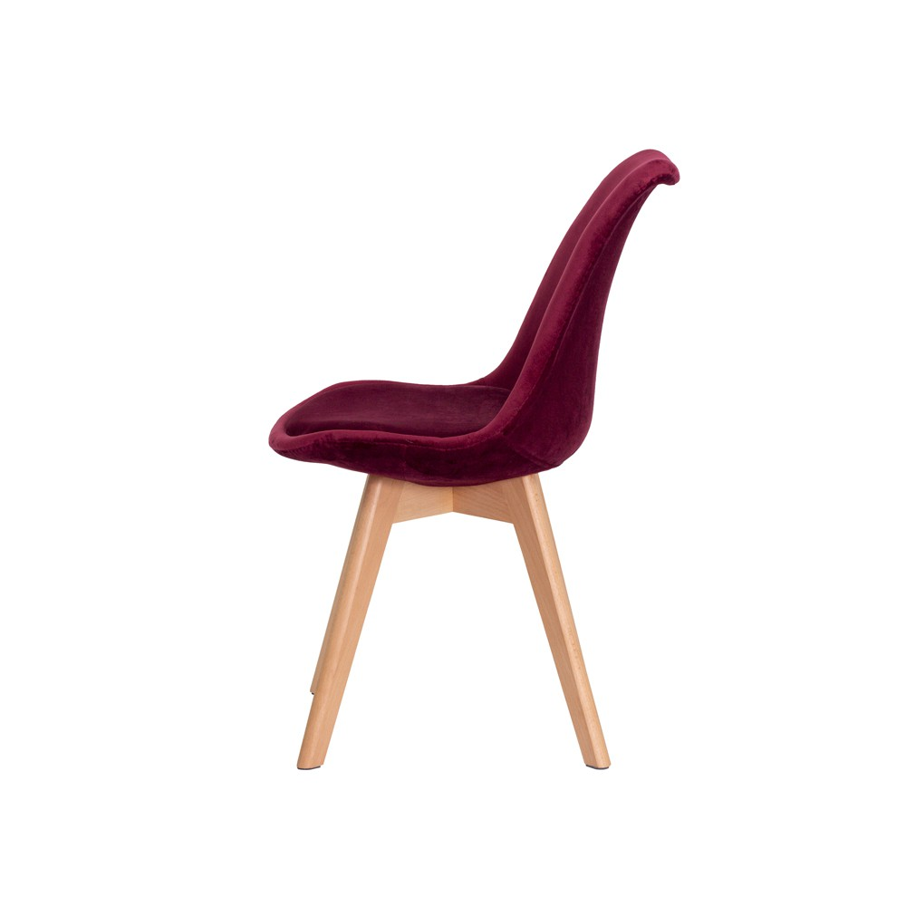 Cadeira Leda Saarinen Design Veludo Vinho