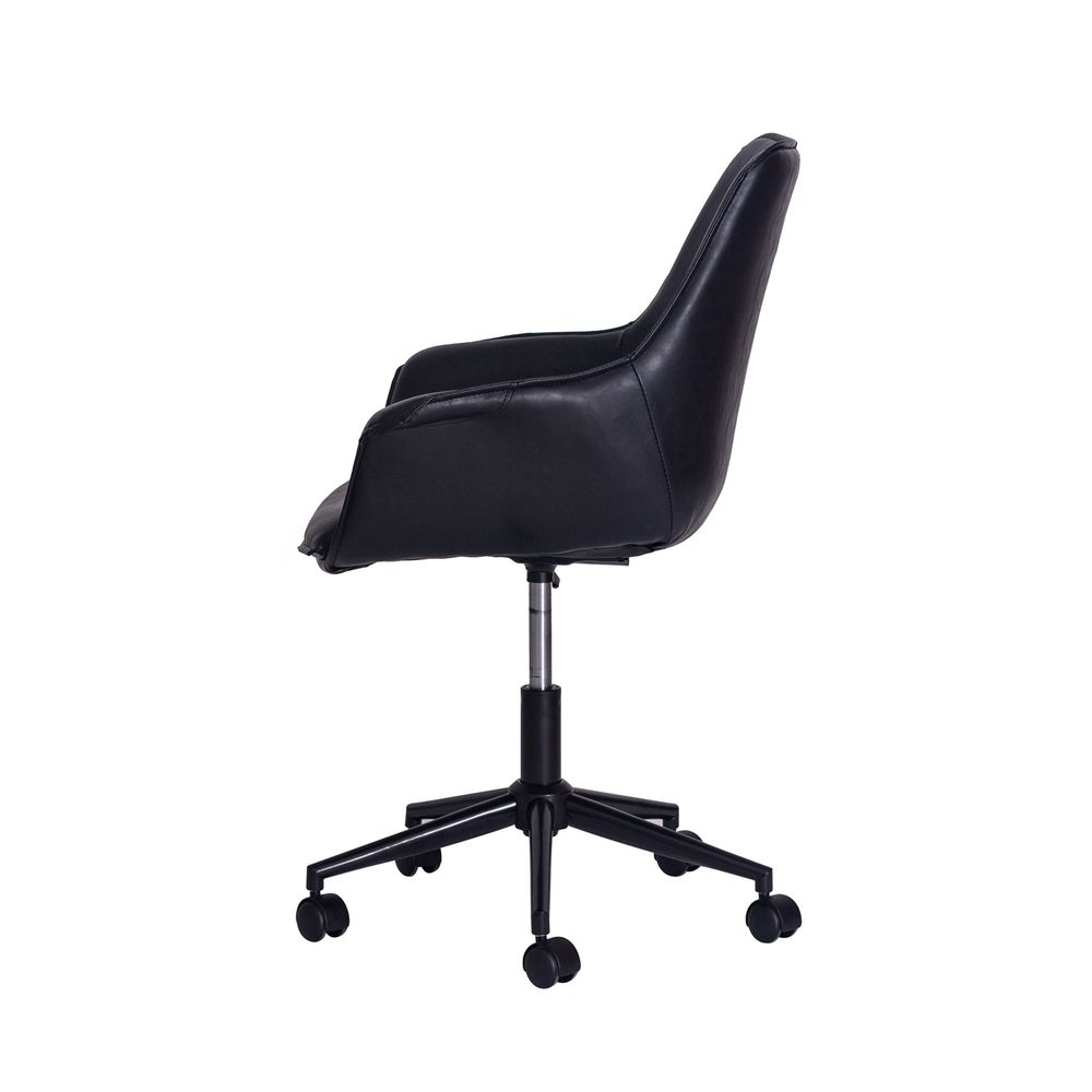 Cadeira Office Style Preta Base Black Metal