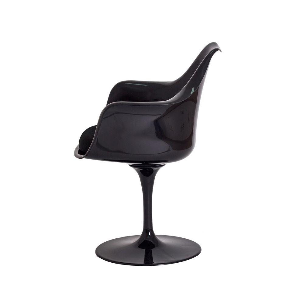 Cadeira Saarinen Design c/ Braço Preta