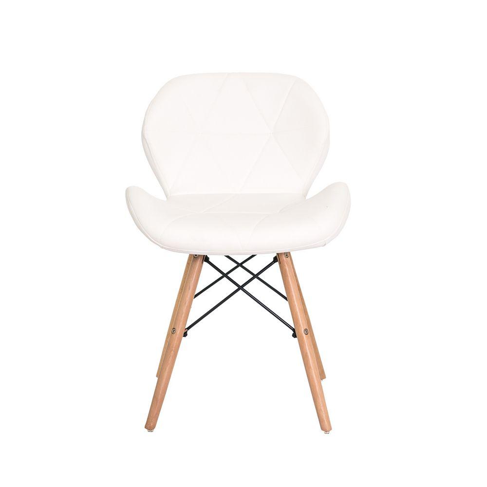 Cadeira Slim Branca Base Madeira