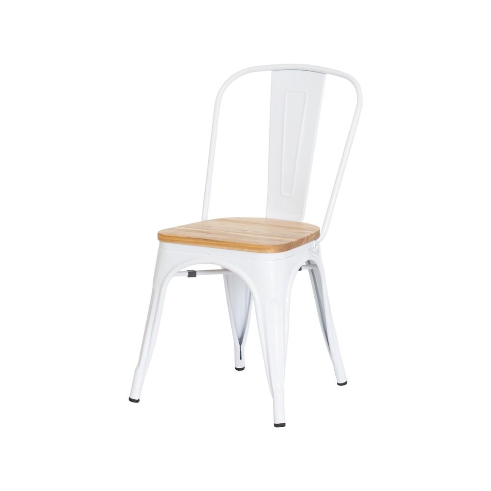 Cadeira Tolix Iron Assento Madeira Branca Aço Industrial