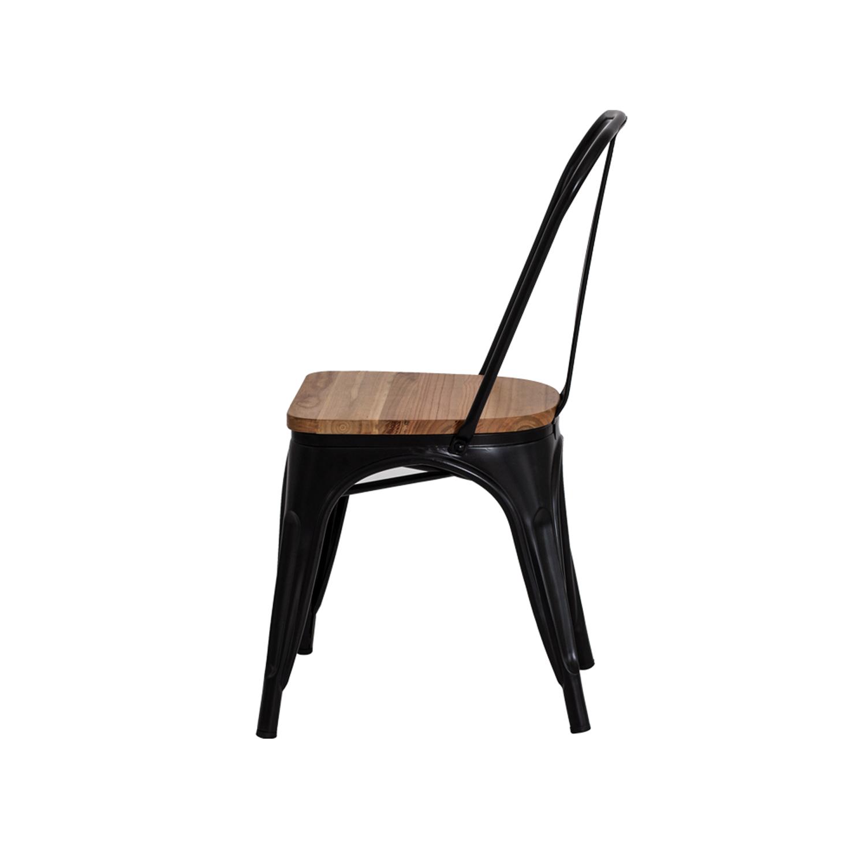 Cadeira Tolix Iron Assento Madeira Preto Fosco
