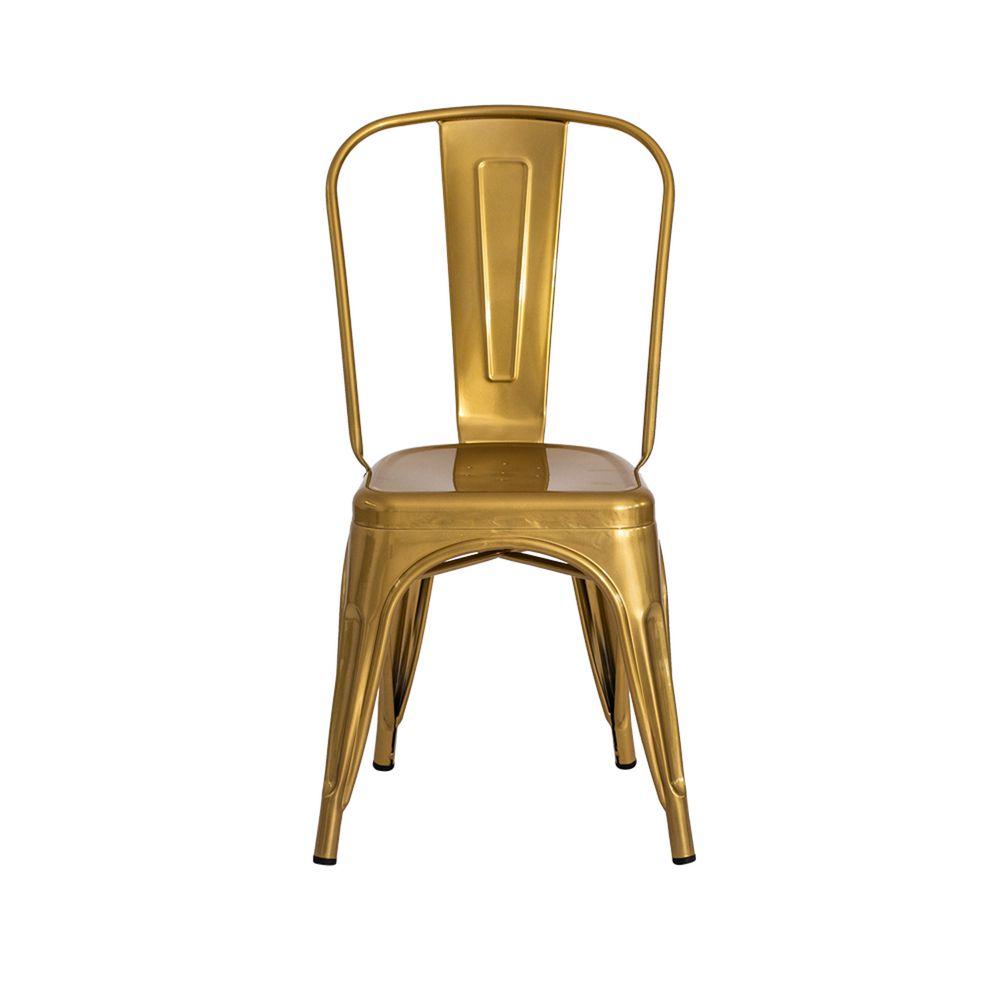 Cadeira Tolix Iron Design Chrome Gold
