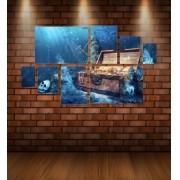 Quadro Placas Baú Fundo do Mar - 8 peças
