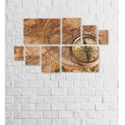 Quadro Placas Bússola - 8 peças