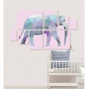 Quadro Placas Elefante Triângulo - 8 peças
