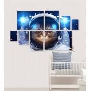 Quadro Placas Gato Astronauta - 8 peças