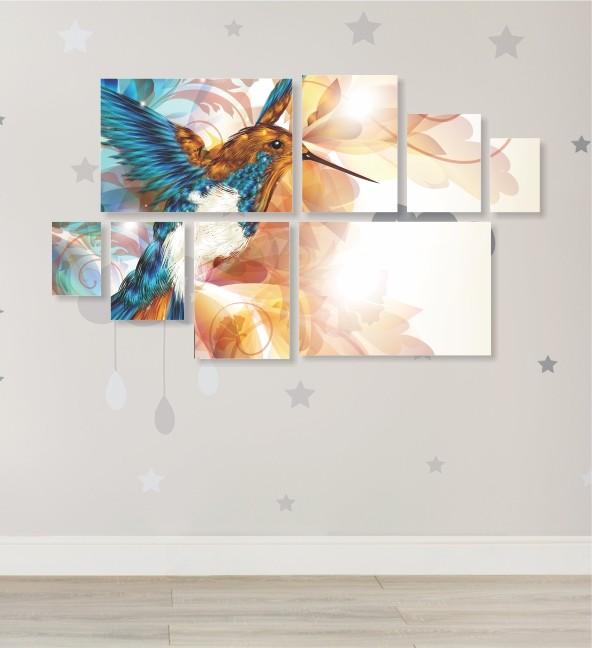 Quadro Placas Beija-Flor - 8 peças