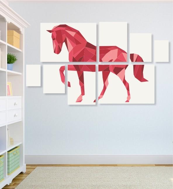 Quadro Placas Cavalo Triângulo - 8 peças