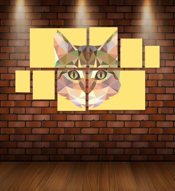 Quadro Placas Gato Triângulo - 8 peças
