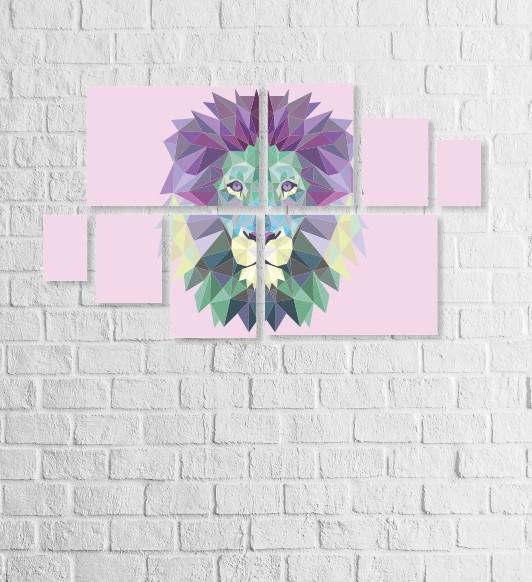 Quadro Placas Leão Triângulo - 8 peças