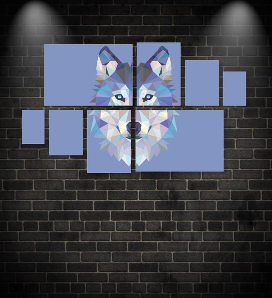 Quadro Placas Lobo Triângulo - 8 peças
