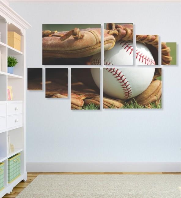 Quadro Placas Luva e Bola Beisebol - 8 peças