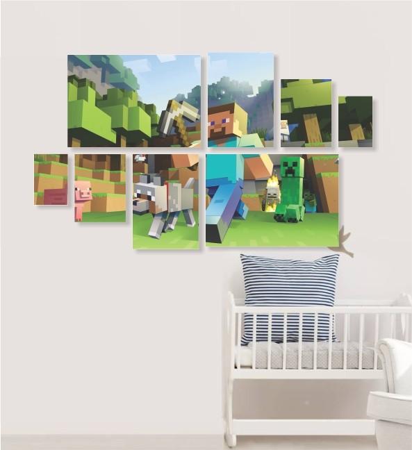 Quadro Placas Minecraft - 8 peças