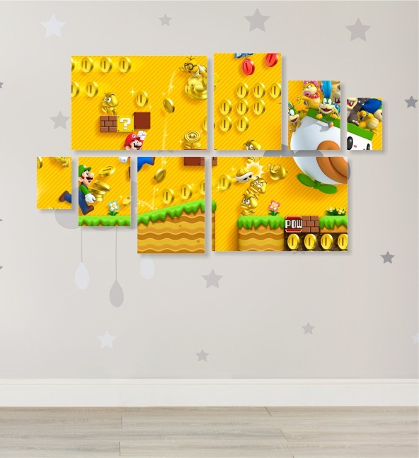 Quadro Placas Super Mario - 8 peças