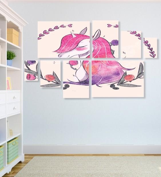Quadro Placas Unicónio Rosa - 8 peças