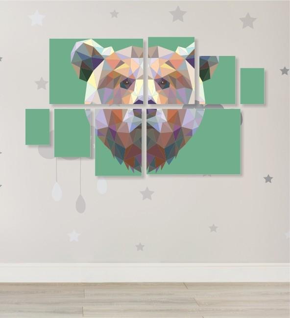 Quadro Placas Urso Triângulo - 8 peças