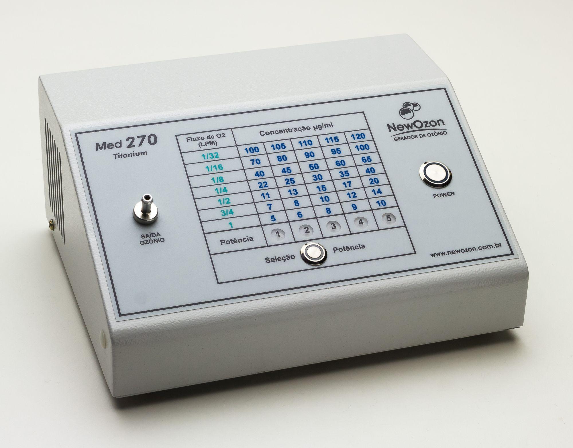 NewOzon Med 270 Titanium Gerador de Ozônio de Uso Medicinal, indicado para uso Médico, Odontológico ou Veterinário. 35 concentrações de ozônio disponíveis em 5 níveis de potência.