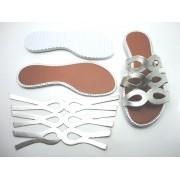Kit para fabricação de rasteirinhas - Cabedal Prata